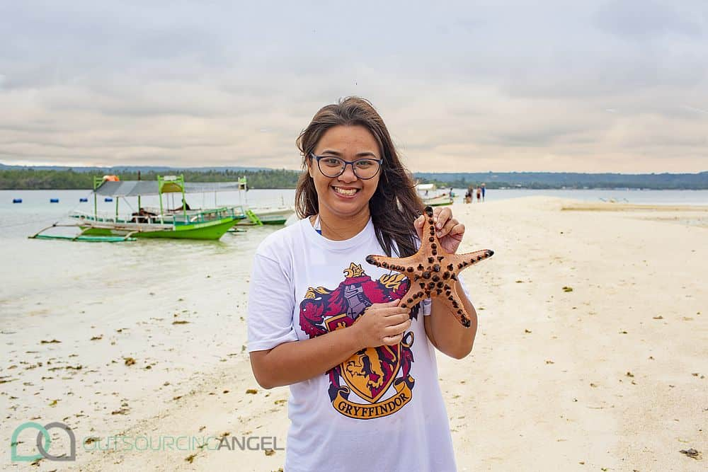 A pretty find on Vanishing Island's beach - a giant starfish and an Outsourcing Angel virtual assistant